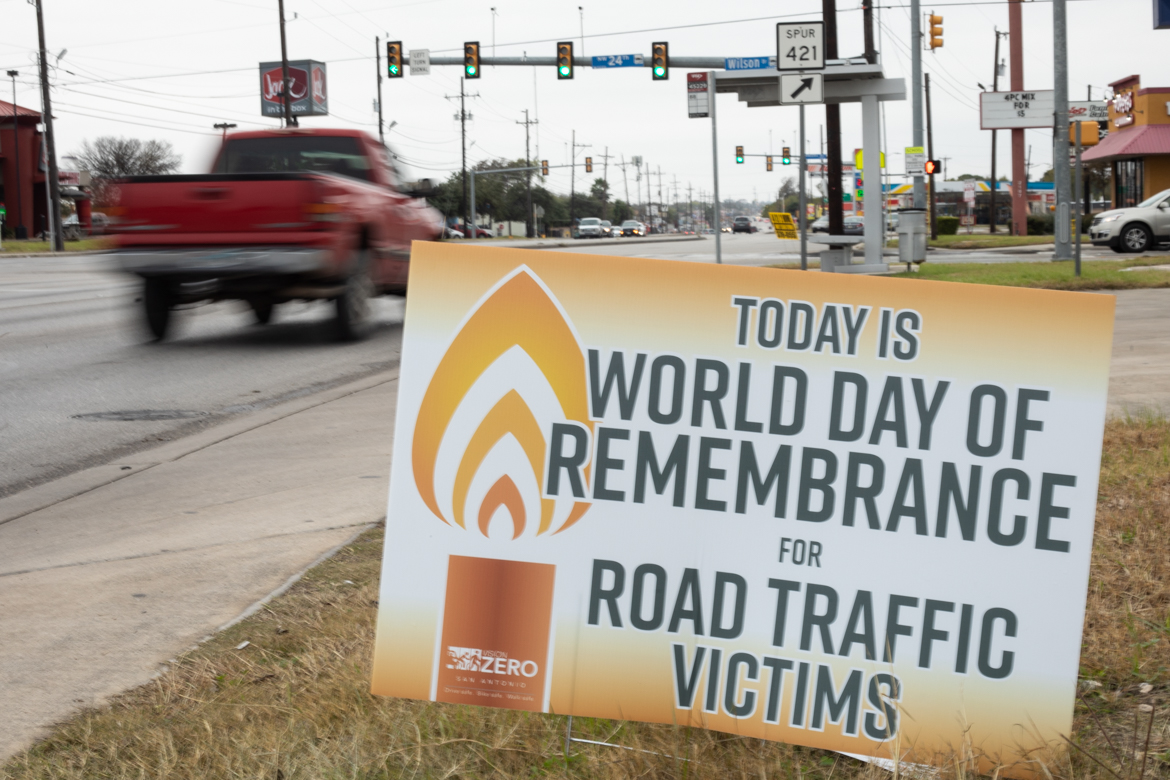 Vision Zero San Antonio commemorates World Day of Remembrance by installing a series of temporary signs along Culebra Road.