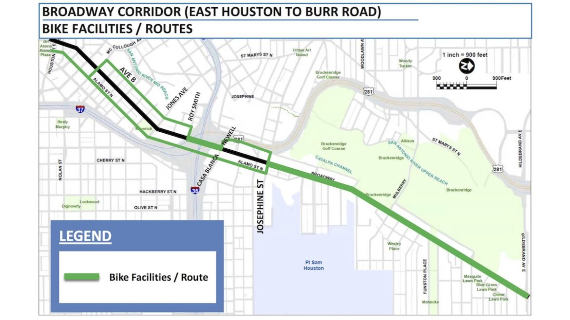 This map shows proposed bike facilities on North Alamo, Avenue B, and Broadway Street.