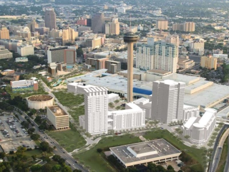 This rendering depicts the maximum amount of development density in Hemisfair's Tower Park. Officials said this scenario is unlikely.