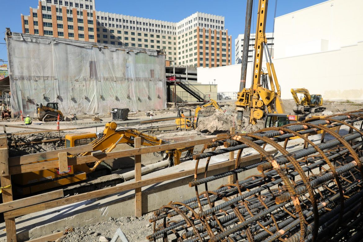 Construction continues on phase one section two of the San Pedro Creek Culture Park near Commerce Street.