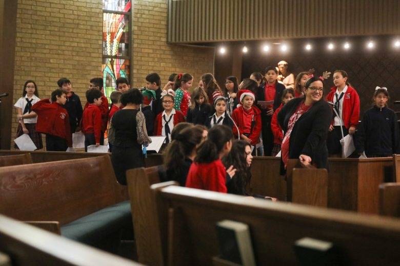 Students and teachers from Blessed Sacrament Catholic School prepare for