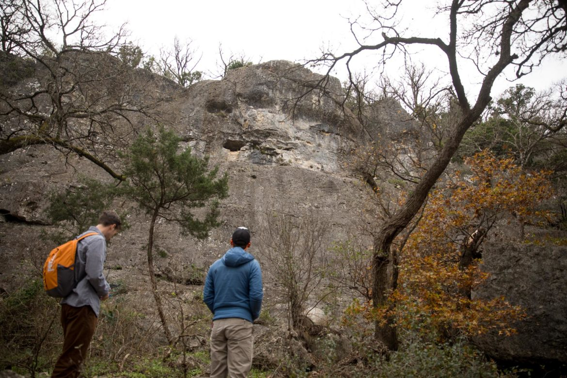 Texas Climbers Coalition President and Access Coordinator Adam Mitchell (right) and Brian Tickle look up to Medicine Wall after taking ownership of the climbing destination.