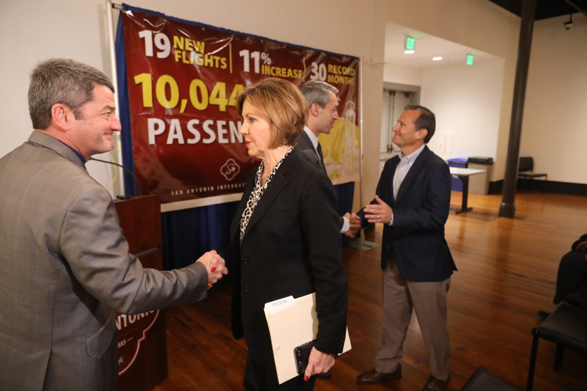 City Manager Sheryl Sculley Ames handsome with Aviation Director Russ Handy following 30 straight record months for the San Antonio International Airport.