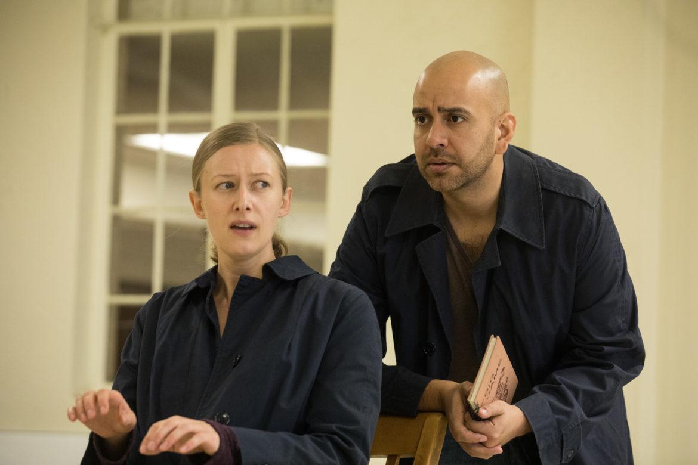"(From left) Liz Bouk and José Rubio rehearse Alamo City Opera's ""As One."""