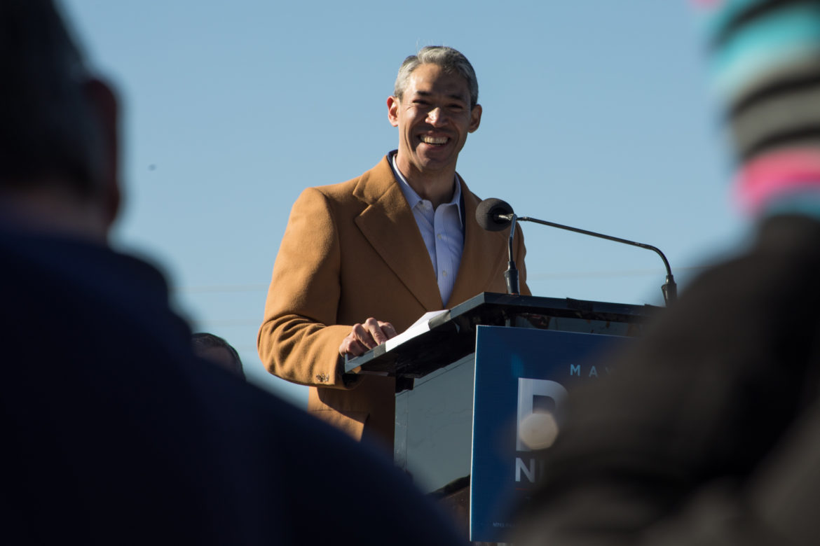Mayor Ron Nirenberg speaks at his re-election campaign announcement.