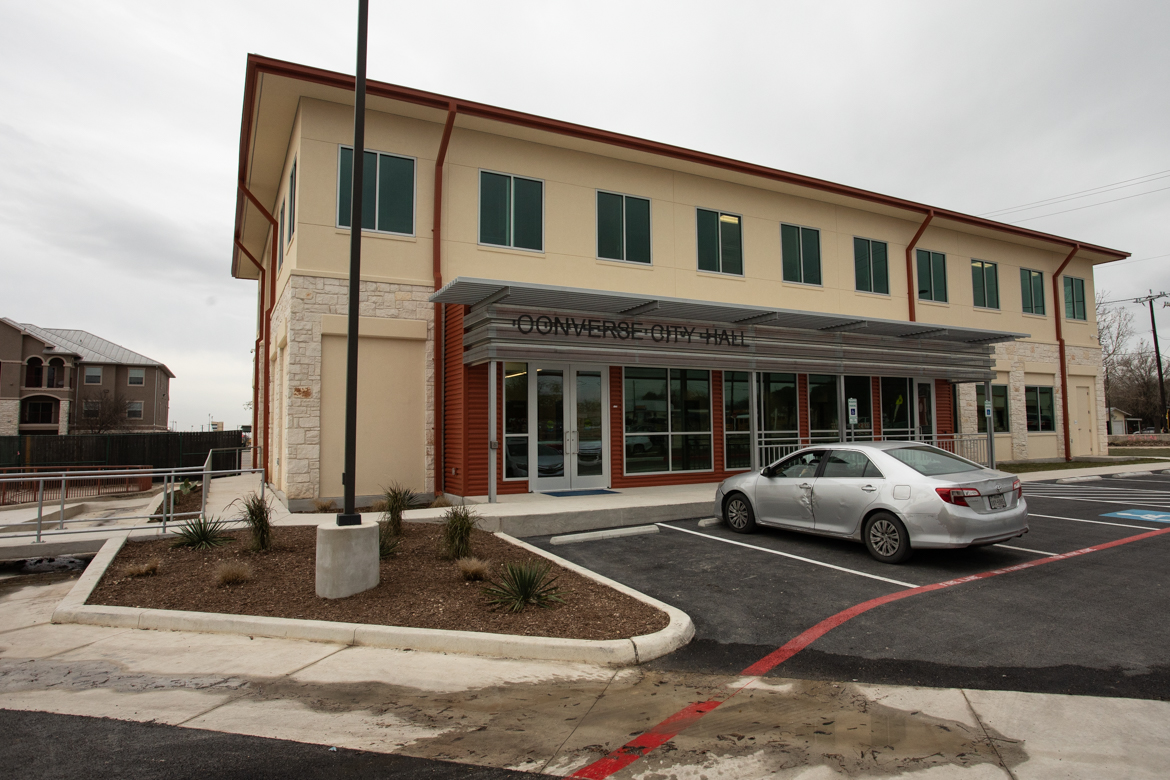 The new city hall facility in Converse, Texas, is located at 406 S. Seguin Rd.