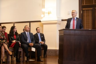 U.S. Rep Lloyd Doggett (D-Texas) speaks about the work of Joe Gonzales before he is sworn in as Bexar County Criminal District Attorney.