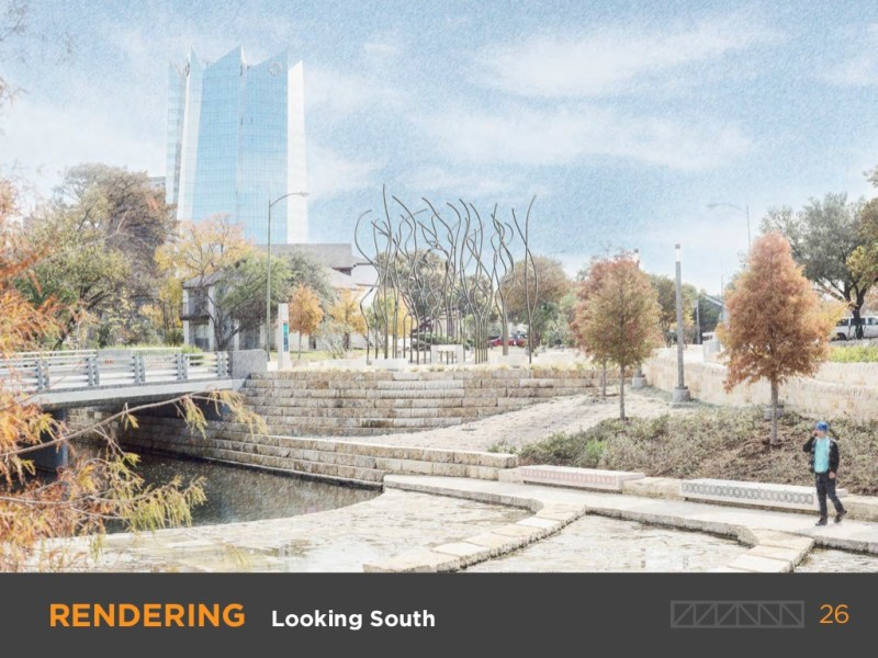 A rendering of Creek Lines looking South backed by the Frost Tower.