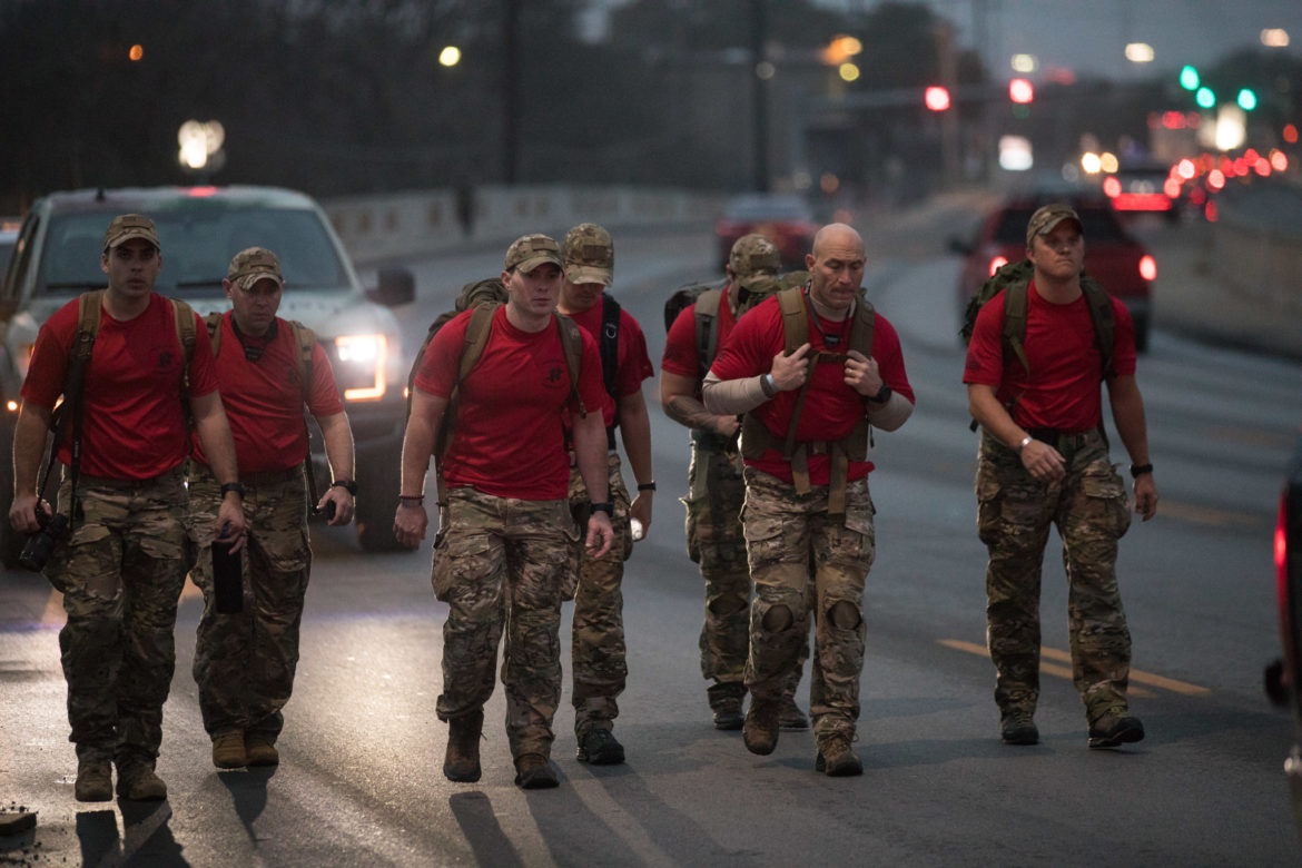 U.S. Air Force Special Tactics operators march down East Houston Street in memory of Staff Sgt. Dylan Elchin. The route begins at Joint Base San Antonio-Lackland and ends at Hurlburt Field in Northwest Florida.