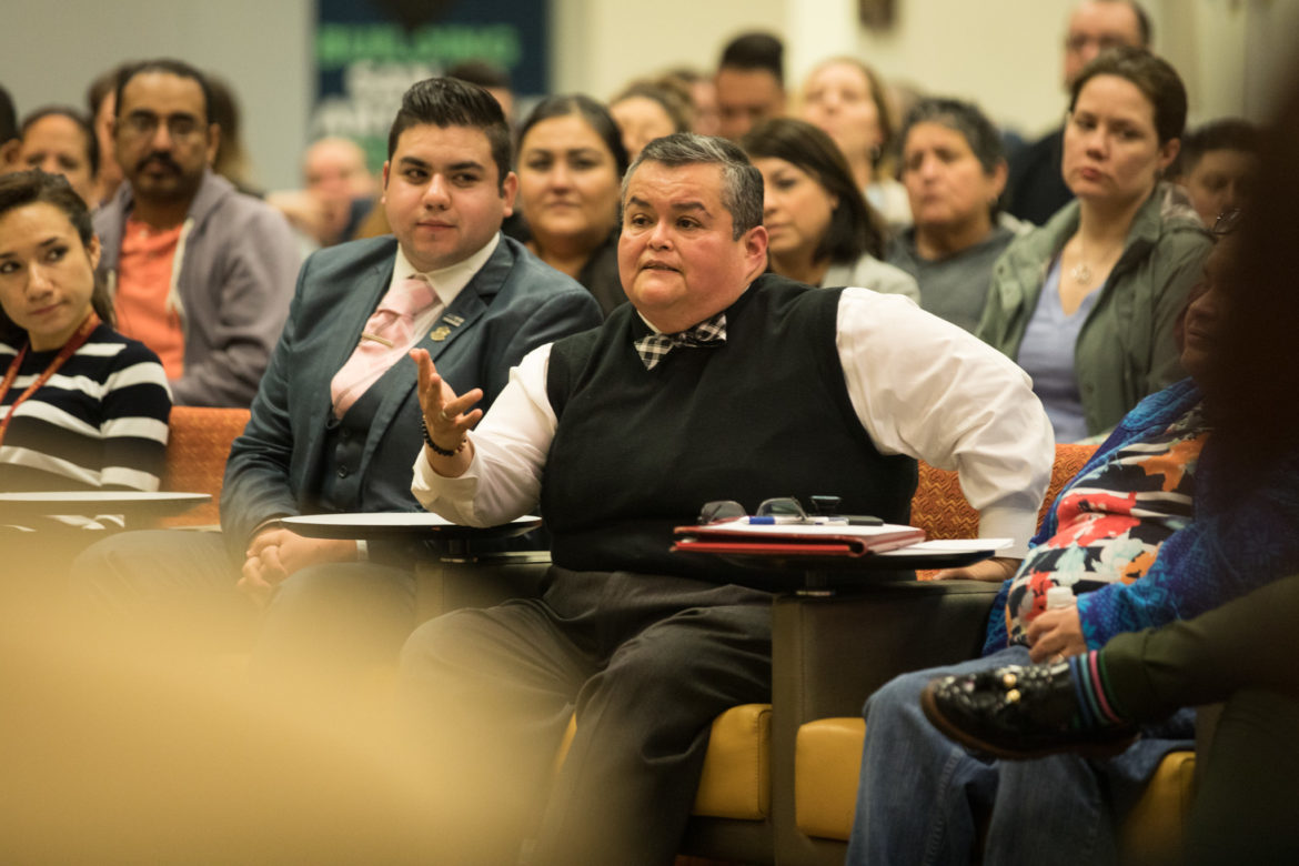 Maria Salazar a member of the Mayor's LGBTQ Advisory Committee addresses concerns with Mayor Nirenberg during a town hall in February.