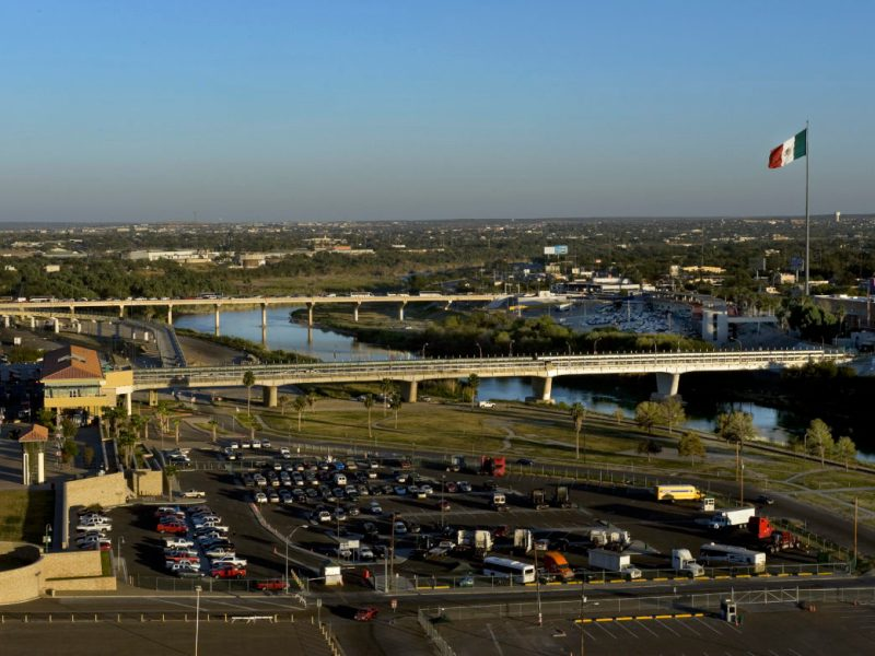 The international border at Nuevo Laredo, Mexico and Laredo, Texas.