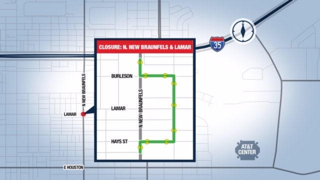 The intersection of Lamar and North New Braunfels Ave. will be closed this weekend.