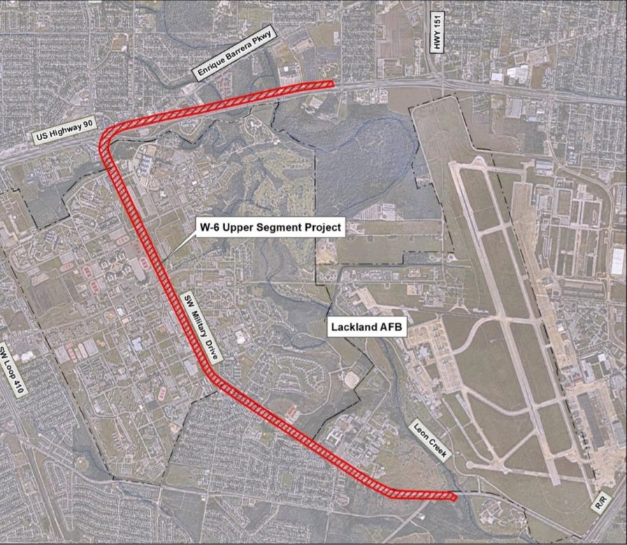 A map of a roughly 5-mile sewer line project west of Joint Base San Antonio-Lackland.