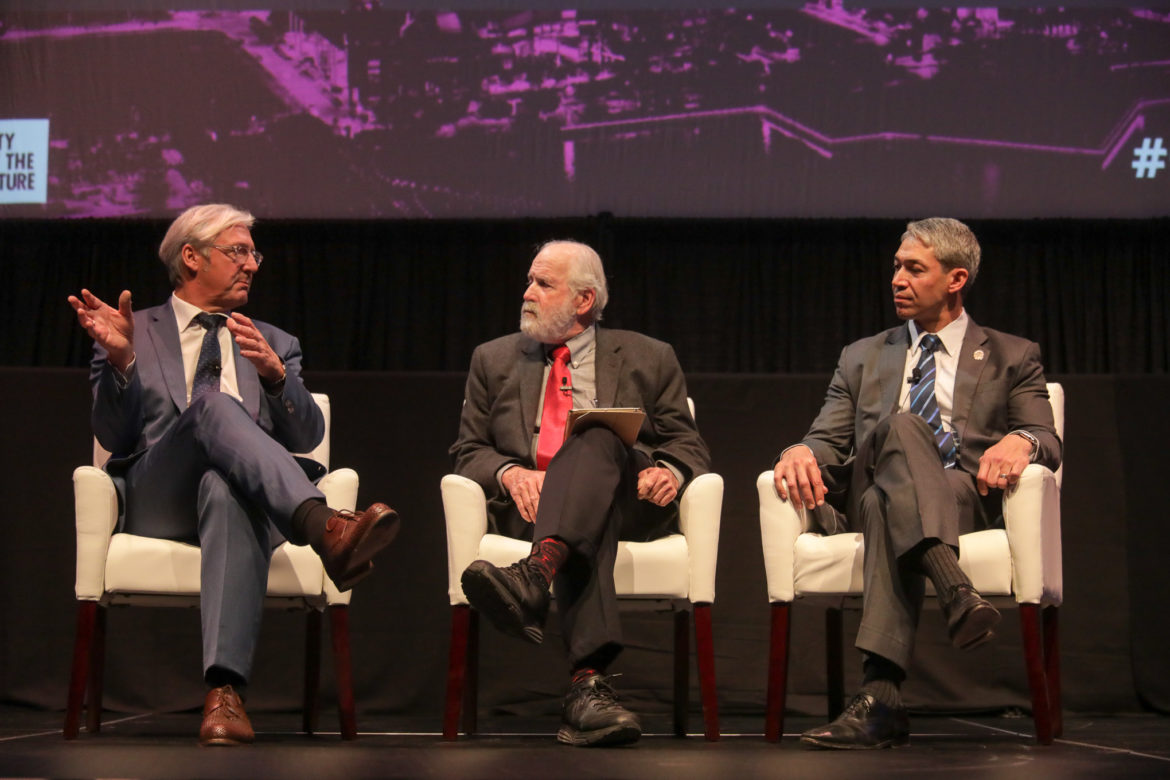 Panelists (from left) Lord Mayor of Darmstadt Jochen Partsch, moderator Rick Casey, and San Antonio Mayor Ron Nirenberg speaks to the future of their respective cities.