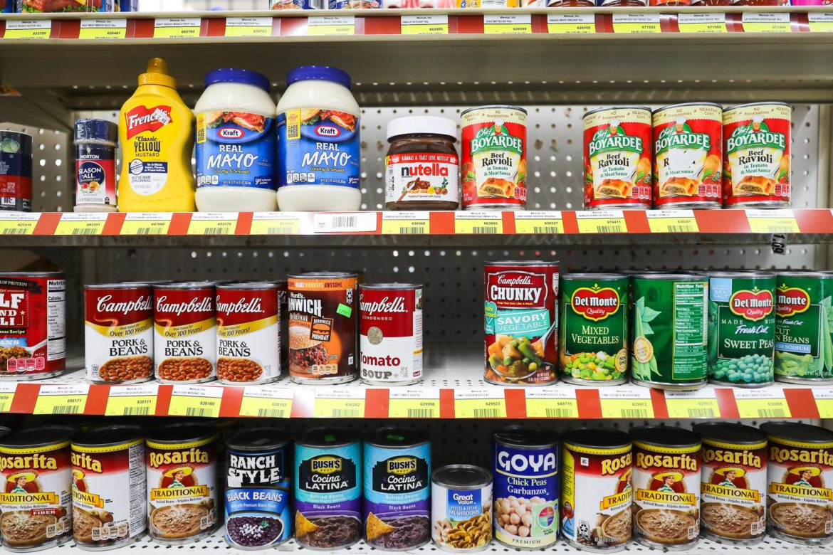 Local convenience stores often stock dry storage goods like canned meals and condiments.