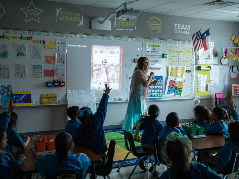 IDEA Ingram Hills kindergarten teacher Vania Moreno teaches her students about Ruby Bridges during Black History Month.