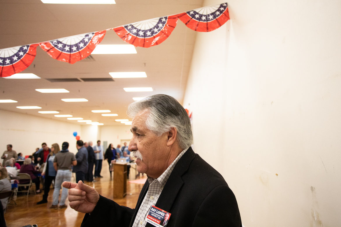 Ray Lopez gives interviews at his watch party before the final votes are counted.