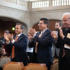 (From left) Assistant City Manager Carlos Contreras, San Antonio Chamber of Commerce CEO Richard Perez, and former Mayor Phil Hardberger give outgoing City Manager Sheryl Sculley a standing ovation.