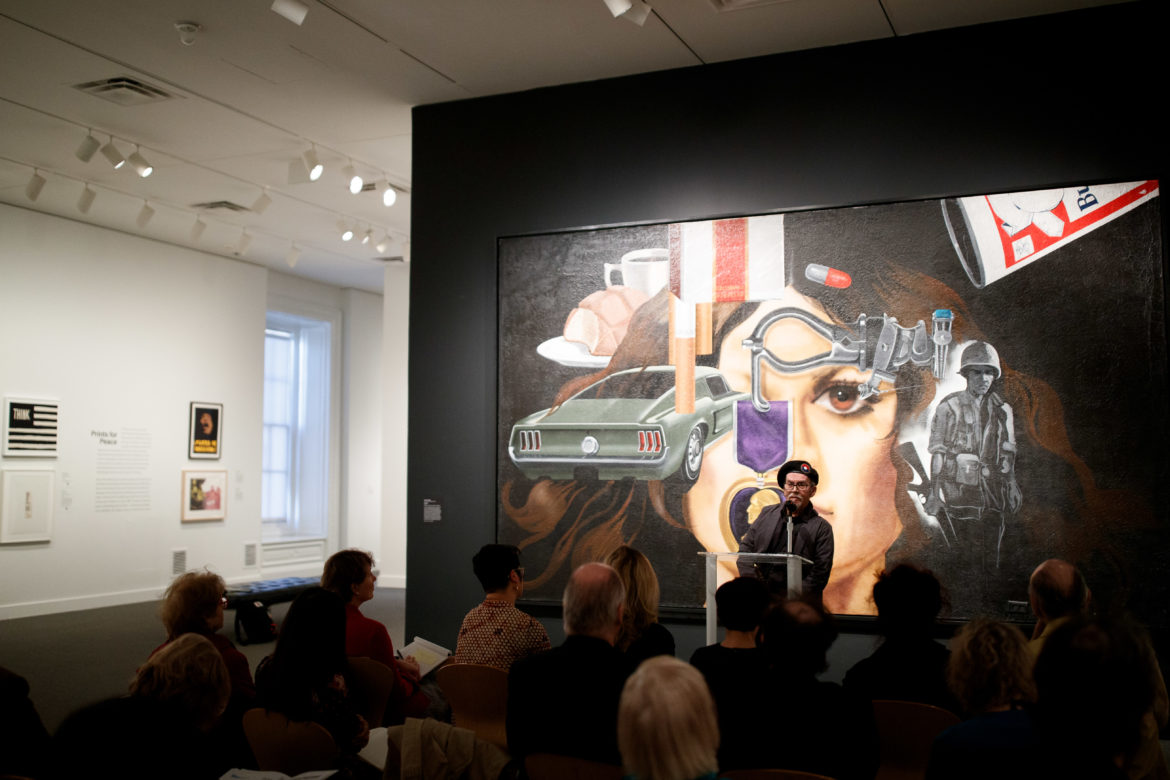 """Jesse Treviño speaks during a press availability of the opening of the """"Artists Respond: American Art and the Vietnam War, 1965-1975"""" show at the Smithsonian American Art Museum in Washington, D.C. on March 14 2019."""