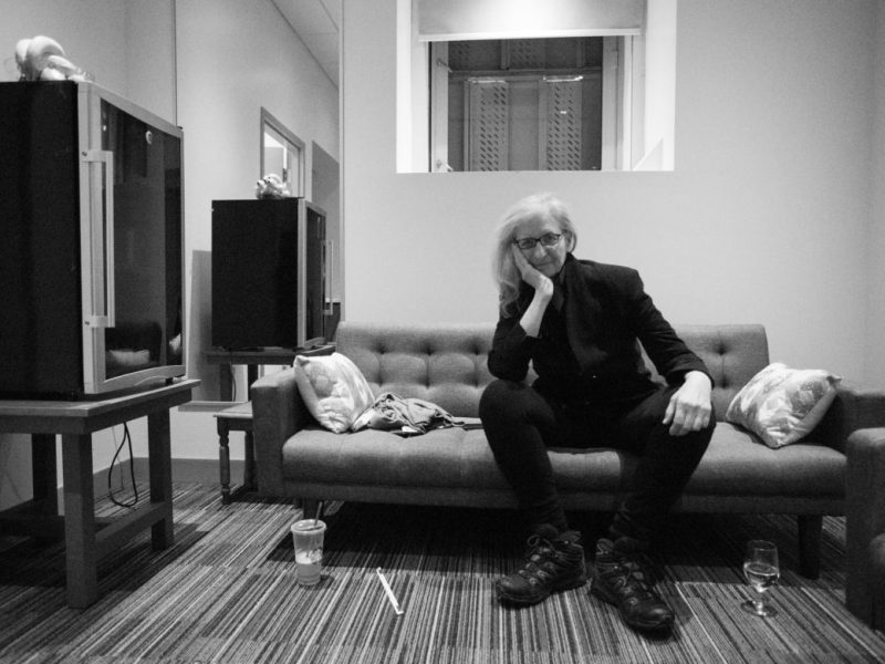 Annie Leibovitz in her dressing room after speaking.