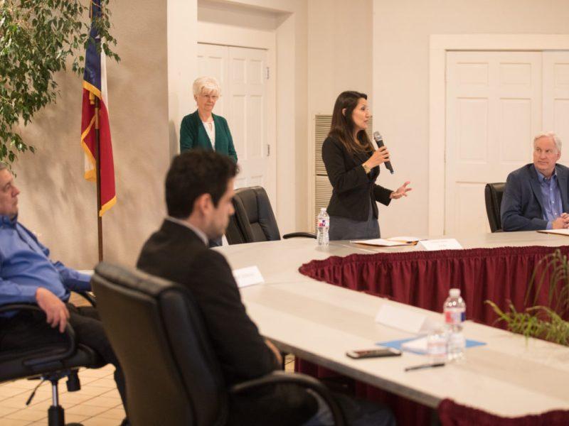 District 6 candidates (from left) Mario Adame, Robert Herrera, Melissa Cabello Havrda, and Andy Greene.