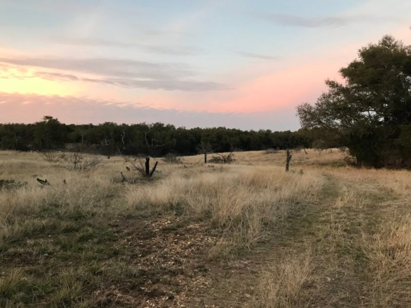 The sun sets over a section of Lively Loop at Colorado Bend State Park.