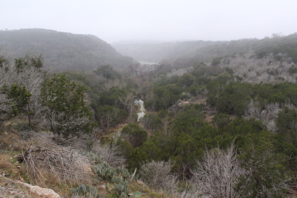 A misty view of a creek flowing into the Colorado River at Colorado Bend State Park.