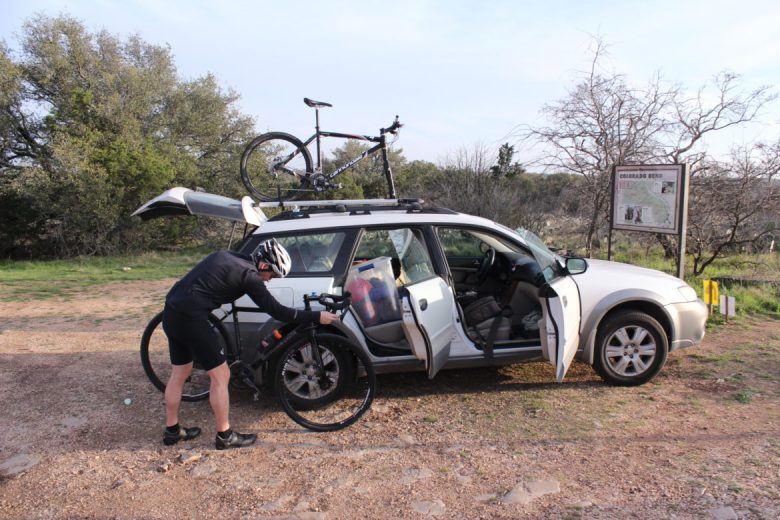 Max O'Roark and his overly loaded Subaru at a trailhead at Colorado Bend State Park.