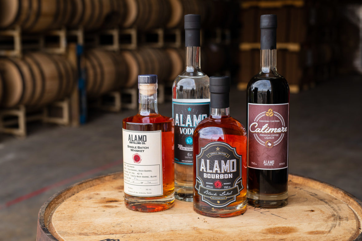 Alamo Distilling Co. not only offers bourbon but vodka, and a coffee liqueur.
