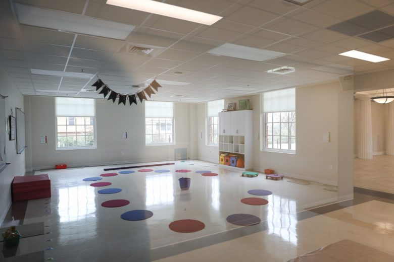 Classrooms at Cornerstone Christian School feature large windows often looking into the schools courtyard.