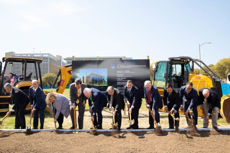 (from left) Mayor Ron Nirenberg, County Judge Nelson Wolff, GSA Administrator Emily Murphy, Senator Ted Cruz, Senator John Cornyn, U.S. District Judge Xavier Rodriguez, Congressman Henry Cuellar, Congressman Lloyd Doggett, Congressman Julian Castro, Congressman Will Hurd, and Congressman Chip Roy shovel dirt at the future United States Federal Courthouse.