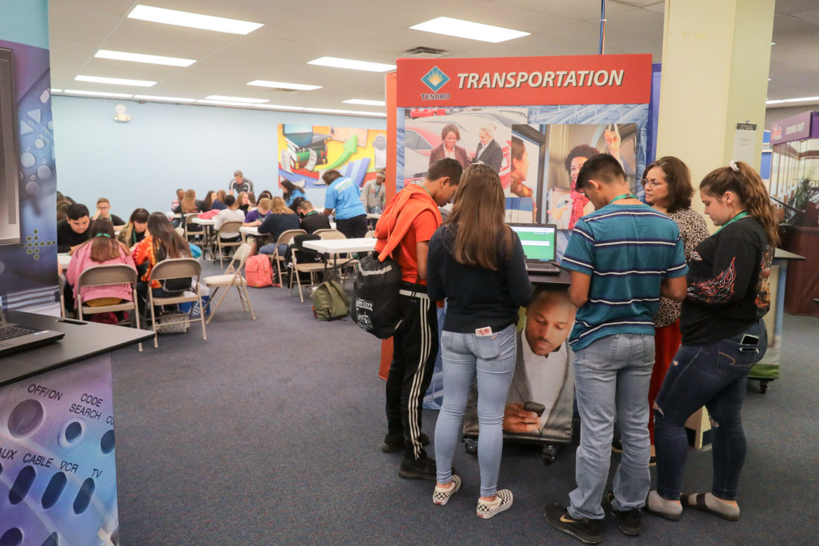 Students from Heritage Middle School spend time at Finance Park, a simulated program that helps children learn about budget and finance after leaving home.