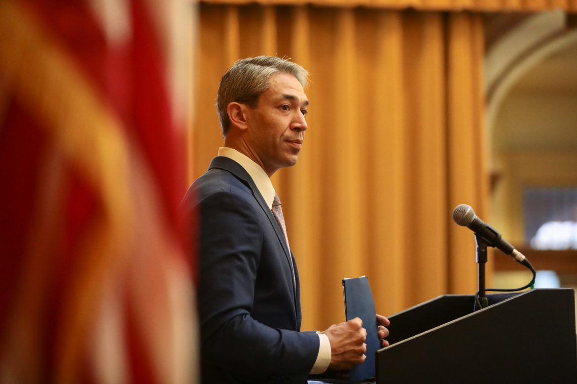 Mayor Ron Nirenberg addresses attendees at the annual Sage (San Antonio for Growth on the Eastside at Sunset Station.