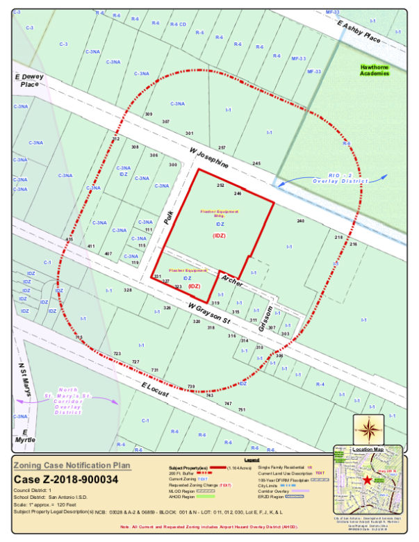 The zoning location of the proposed mixed-use development in Tobin Hill.