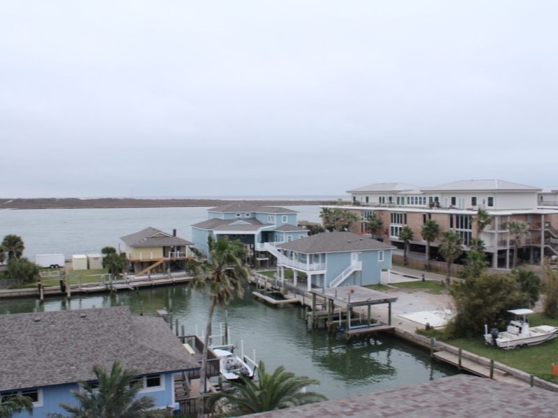 A view of the residential areas near the channel on the north side of Port Aransas.