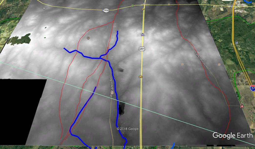 LIDAR imagery of the Encinal de Medina showing historic road paths.