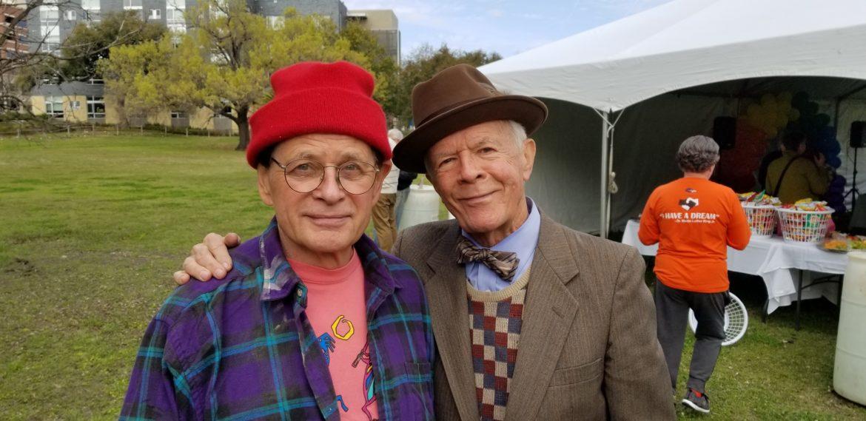 (left) The late Gene Elder with Mike Casey during the memorial of Kenneth Garrett in February.