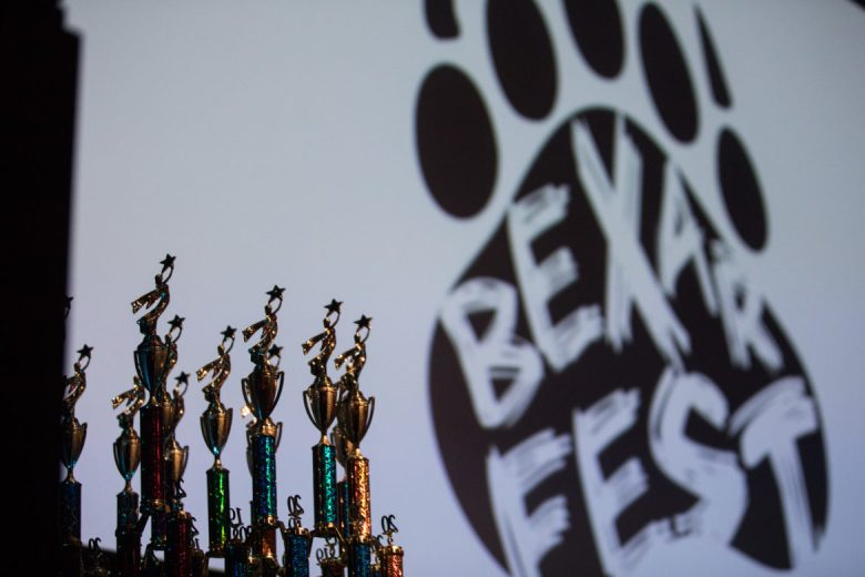 Trophies line the stage to give to award recipients.