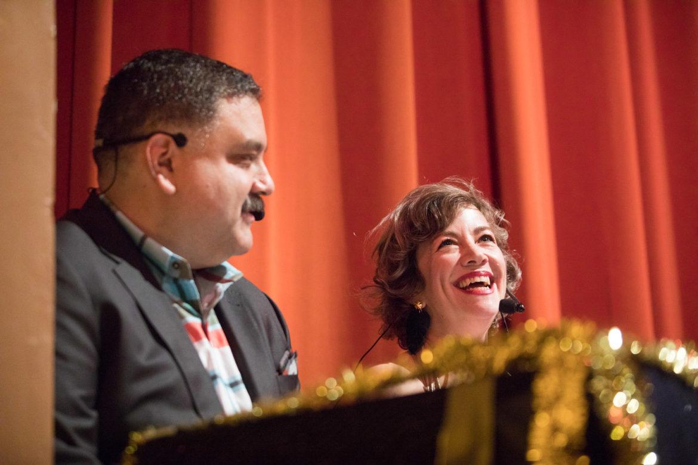 Cornyation hosts Jesse Mata and Elaine Wolff.