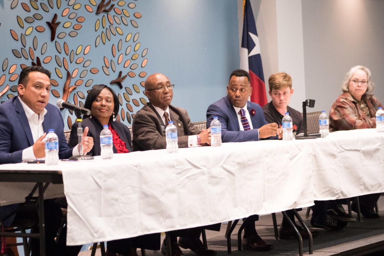 (From left) District 2 candidates Ruben Arciniega, Jada Andrews-Sullivan, Keith Toney, Walter Perry Sr., Joseph Powell, and Denise Gutierrez-Homer.