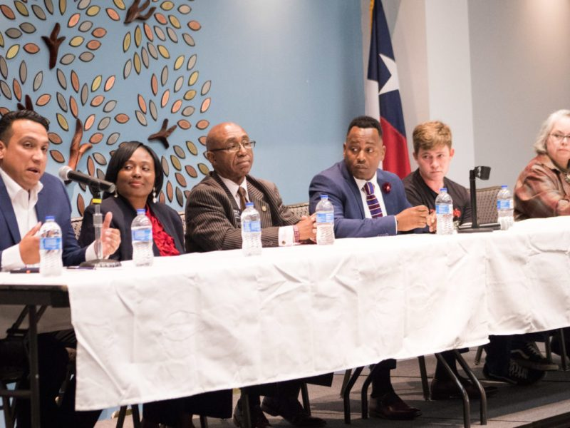 (From left) District 2 candidates Ruben Arciniega, Jada Andrews-Sullivan, Keith Toney, Walter Perry Sr., Joseph Powell, and Denise Gutierrez-Homer.