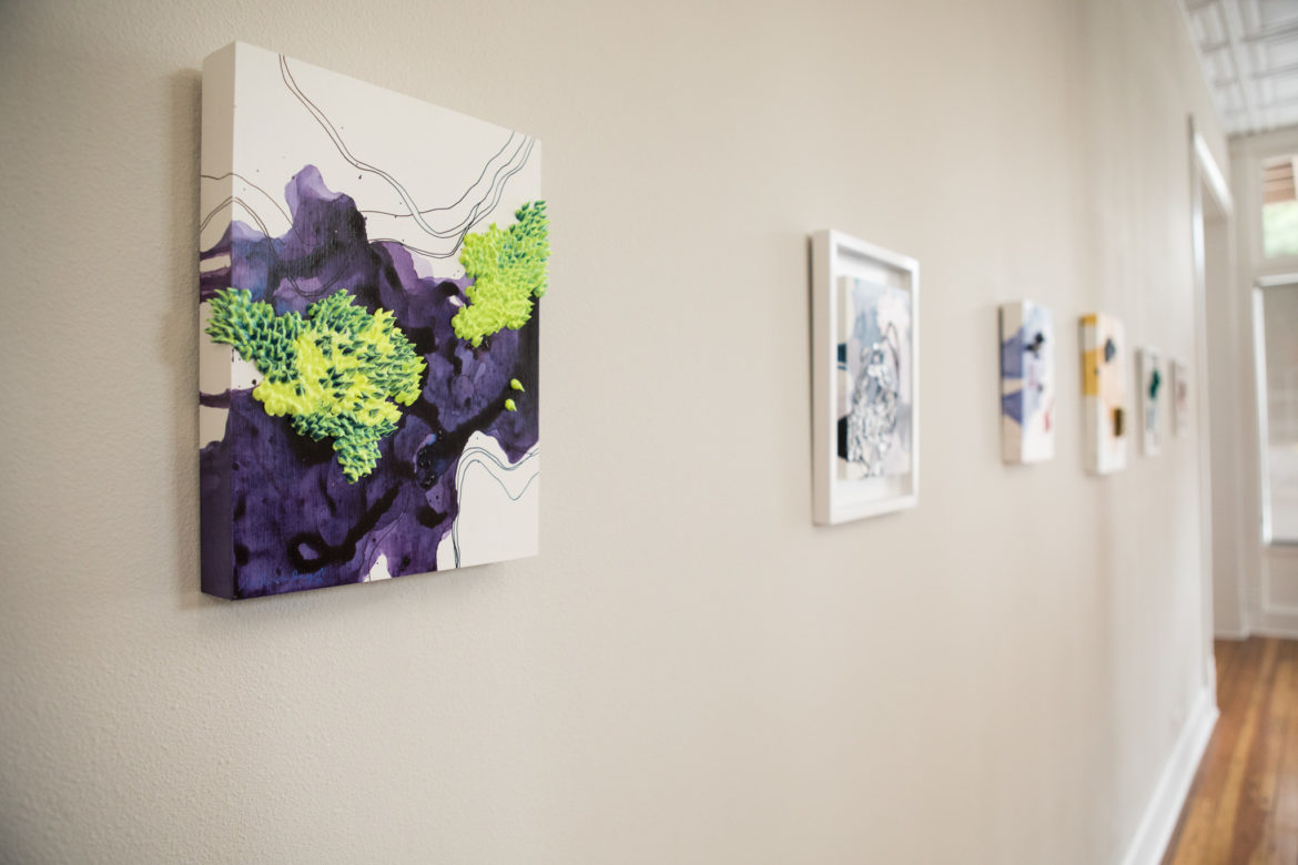 Works by Andrea Reyes hang in the Gonzales Gallery.