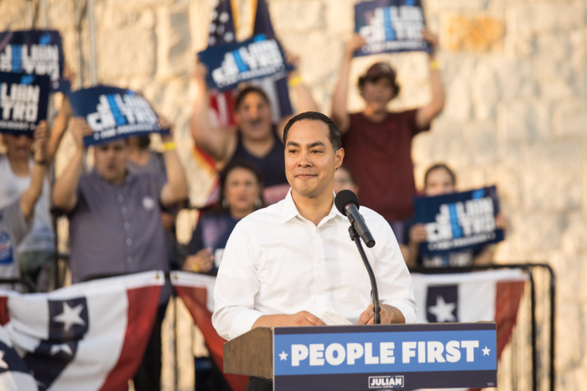 """Julián Castro speaks during the """"People First"""" rally."""