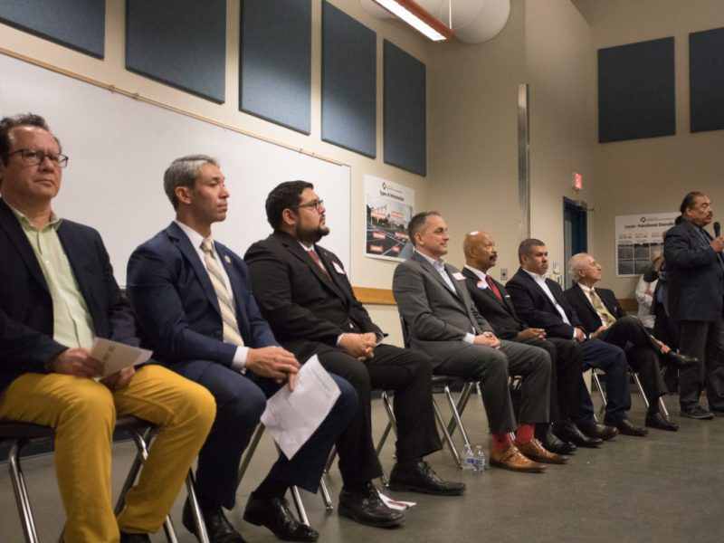 "Mayoral candidates (from left) John Velasquez, Ron Nirenberg, Matt Piña, Greg Brockhouse, Tim Atwood, Carlos Castanuela, Bert Cecconi, and Antonio ""Tony"" Diaz."