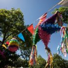 Piñatas line Guadalupe Plaza during the festival.