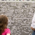 A display of word magnets is available for festival-goers to make their own sentences and stories.