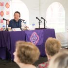God Save Texas with (from left) moderator Dan Goodgame and Lawrence Wright.