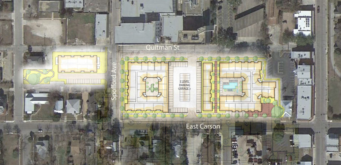 The proposed layout for the development spans across multiple streets in Government Hill.