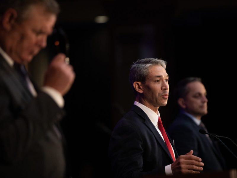 Mayor Ron Nirenberg (center) responds to Councilman Greg Brockhouse (D6) during the second public debate for Mayor of San Antonio.