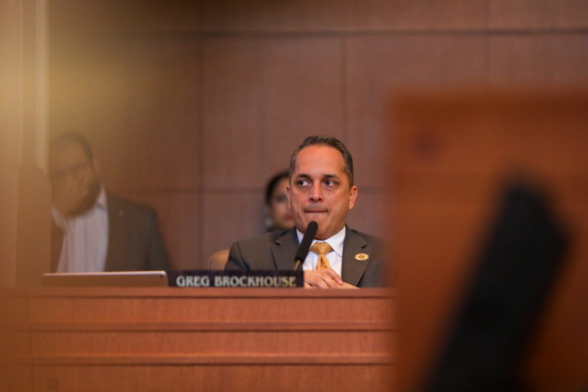 Councilman Greg Brockhouse (D6) reacts following the rejection vote for his amendment on the Chick-fil-A contract at the San Antonio International Airport.